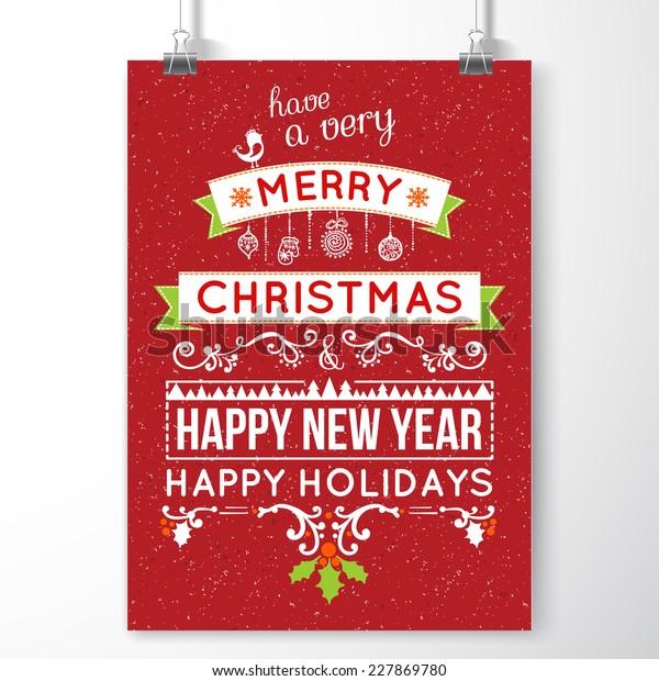 Merry Christmas Invitation Card Ornament Decoration Stock