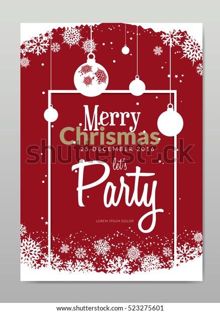 Merry Christmas Invitation Card Snowflake Design Stock Vector ...