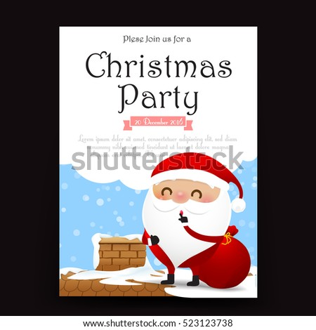 Merry Christmas Invitation Card Template Vector Stock Vector