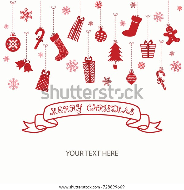 Merry Christmas Invitation Cardchristmas Greeting Cardvector