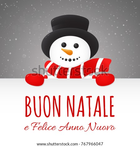 merry christmas in italian buon natale concept of card with decoration vector