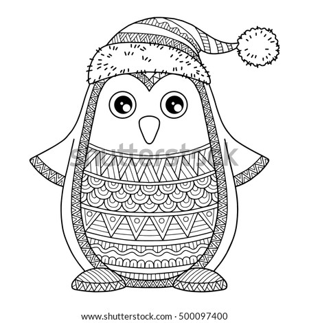 merry christmas jolly penguin the detailed coloring pages for adults image for design