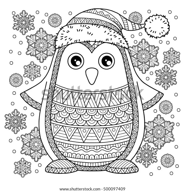 Merry Christmas Jolly Penguin Detailed Coloring Stock ...