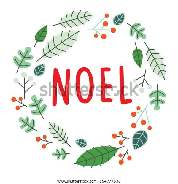 Joyeux Noel Clipart.Merry Christmas Joyeux Noel Leaf On Stock Vector Royalty