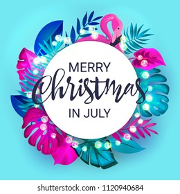 Merry Christmas in July floral banner with luminous garland, pink flamingo and tropical palm leaves. Yulefest or Midwinter Christmas design template isolated on white background. Vector illustration