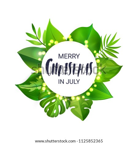 Christmas In July Royalty Free Images.Merry Christmas July Floral Banner Luminous Stock Vector