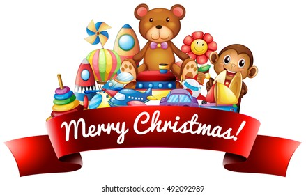 Merry Christmas label with toys