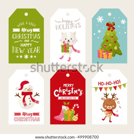 merry christmas labels with cute animals happy new year greeting cards cat with gift - Decorative Christmas Labels