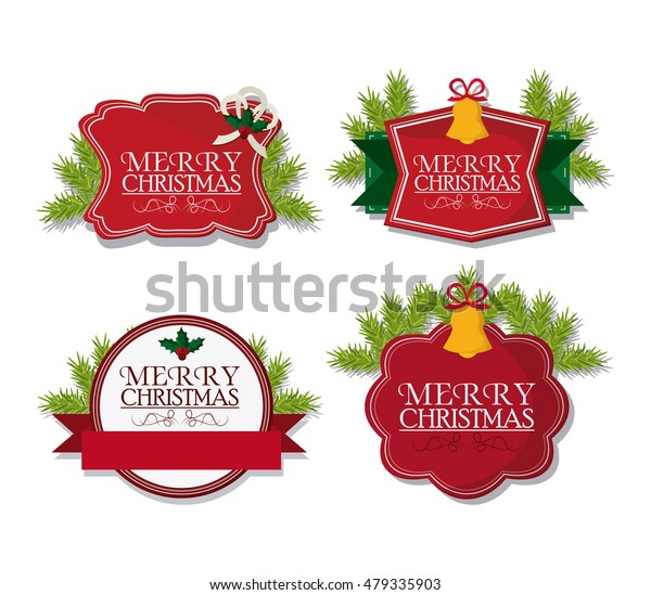 Merry Christmas Labels.Merry Christmas Labels Design Stock Vector Royalty Free