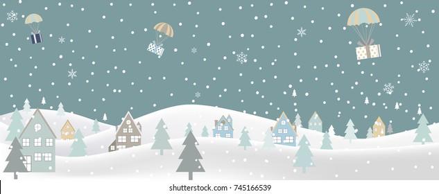 Merry Christmas Landscape. Vector illustration