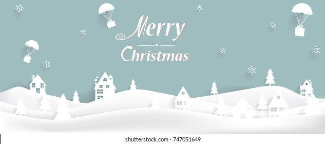 Merry Christmas Landscape. Vector  winter background.