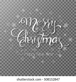 Merry Christmas lettering 2017 with transparent background. Vector illustration EPS 10