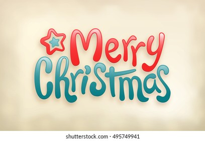 Merry Christmas lettering calligraphy, glossy look, vector illustration