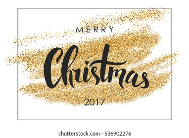 Merry Christmas lettering. Christmas calligraphy. Holiday greeting card. Vector illustration. Gold glitter texture.