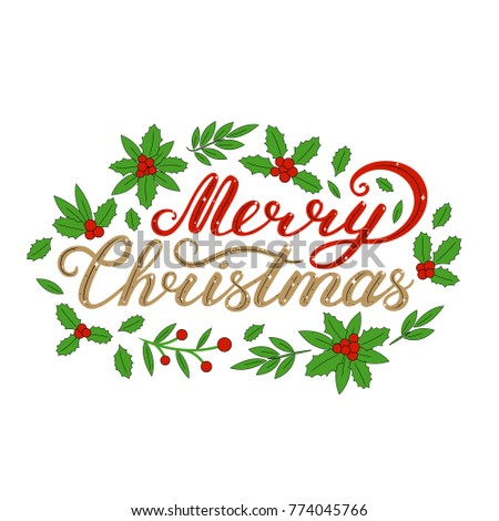 Merry Christmas Lettering Lettering Celebration Logo Stock Vector