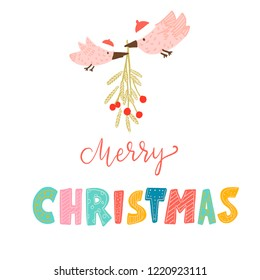 merry Christmas. lettering color unique font. pink birds in red hats carry a branch of mistletoe