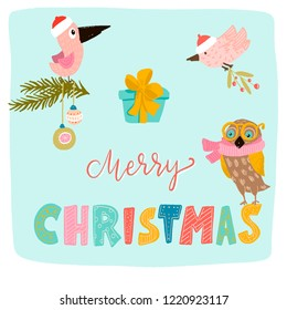 merry Christmas. lettering color unique font. pink birds in red hats. fir branches decorated with balls. blue gift with yellow bow. a branch of mistletoe. owl in scarf and glasses