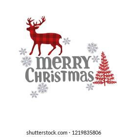 Merry Christmas. Lettering. Christmas deer, fir tree and snowflakes. Isolated vector objects on white background.