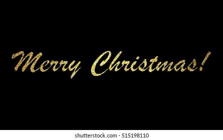 Merry Christmas Lettering Design on black background. Vector illustration. EPS 10