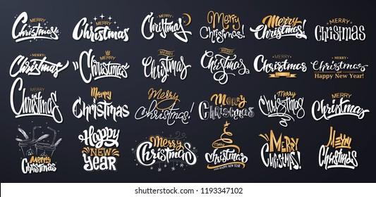 Merry Christmas Lettering Design Set. Vector illustration.