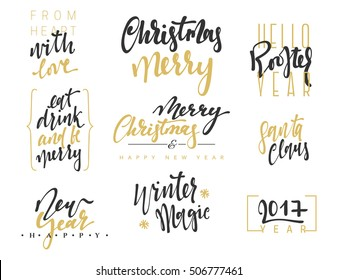 Merry Christmas Lettering Design Set. Calligraphy inscription handmade Merry Christmas and Happy New Year