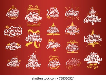 Merry Christmas lettering designs. Tree yellow illustrations. Happy New Year typography. Lettering logos for postcard, poster, gift and T-shirt
