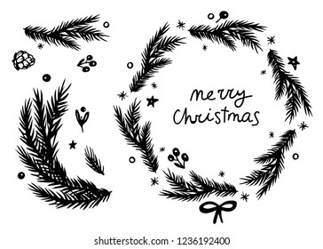 Merry Christmas lettering, fir wreath, branch and cone set. Black and white hand drawn elements for holiday design