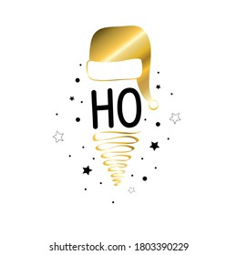 Merry Christmas lettering golden silhouettes. Vector isolated.