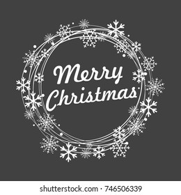 Merry Christmas lettering with golden and silver ornaments and wreath decoration of stars, snowflakes. Merry Christmas calligraphic greeting card