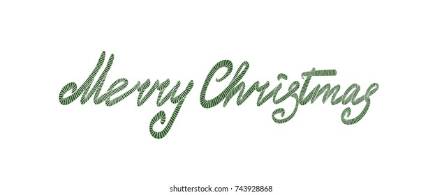 Merry Christmas lettering hand drawn. Christmas greeting card. Embroidery pattern. Vector illustration.