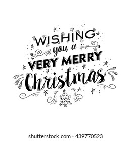 Merry christmas lettering handwritten design. Happy xmas wish text quote with ornament doodle drawings for poster, holiday greeting card etc. EPS10 vector.