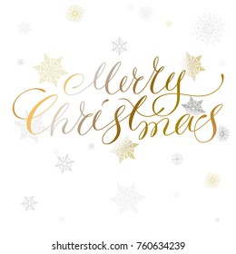 Merry christmas lettering and illustration with melting metallic snowflakes isolated on white