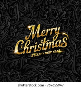 Merry Christmas Lettering for Invitation and Greeting Card. Hand Drawn Inscription, Calligraphic Design