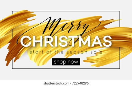 Merry Christmas lettering on a background of a gold brushstroke oil or acrylic paint. Sale design element for presentations, flyers, leaflets, postcards and posters. Vector illustration EPS10