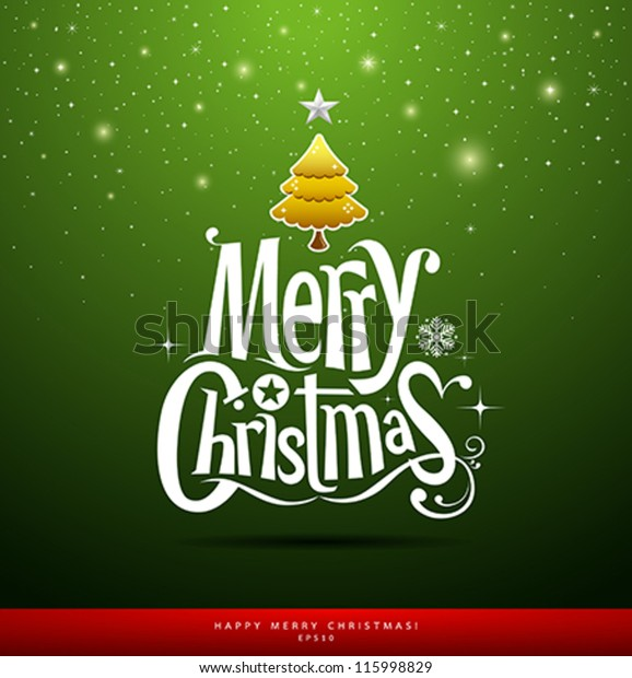 Merry Christmas lettering on green background, vector illustration