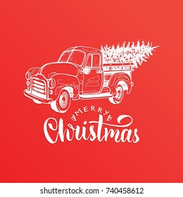 Merry Christmas Lettering On Red Background Vector Hand Drawn Toy Pickup Illustration Happy Holidays