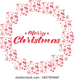 Merry Christmas  lettering with pattern