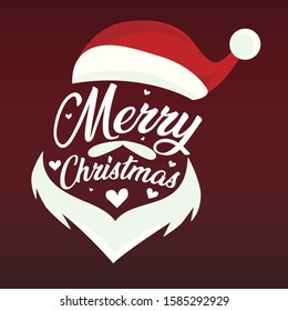 merry christmas lettering in santa claus figure