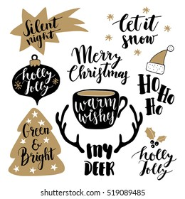 Merry Christmas lettering set.  Hand lettered quotes for greeting cards, gift tags. Typography collection. Holly jolly. Silent night. Let it snow. Warm wishes.My deer. Ho ho. Vector illustration.