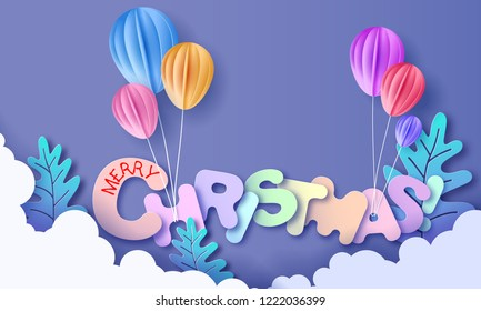 Merry Christmas lettering signature cut from paper and and color balloon. Vector illustration. Winter paper cut craft design.