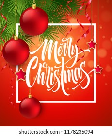 Merry Christmas lettering in square frame. Christmas balls, stars and tree branches decor. Merry Xmas square frame greeting on red background. Postcard, poster design. Isolated vector illustration