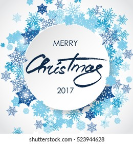 Merry Christmas lettering. White 3d circle with blue snowflakes. Handwritten greeting card. Abstract winter background for card, placard, flyer, poster, banner, web. Vector illustration.