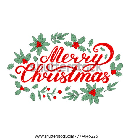 Merry Christmas Lettering Christmas Wreath Lettering Stock Vector