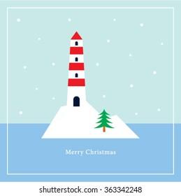 merry christmas lighthouse vector