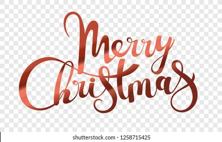 Merry Christmas logo isolated on transparent background. Xmas holiday lettering inscription. Merry Christmas script calligraphy vector illustration