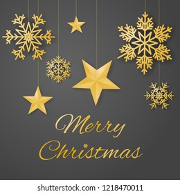 Merry Christmas luxury greeting card vector with sumptuous hanging gold colored snowflakes and stars on gray background.