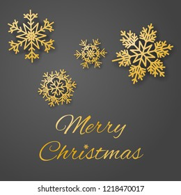 Merry Christmas luxury greeting card vector with sumptuous gold colored snowflakes on gray background.