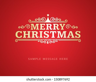 Merry Christmas message and ornament decoration background. Vector illustration Eps 10.