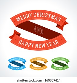 Merry Christmas message ribbons decoration set. Vector illustration Eps 10.
