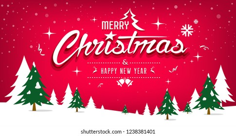 Merry Christmas message, tree and snow design on red background, vector illustration